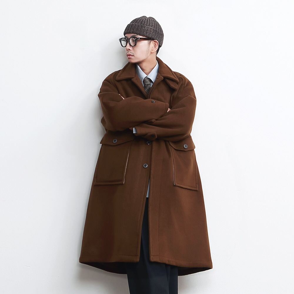 RECEPTION OVERSIZED HEAVY WOOL (DOUBLE CLOTH) BALMACAAN COAT (MOCHA BROWN)