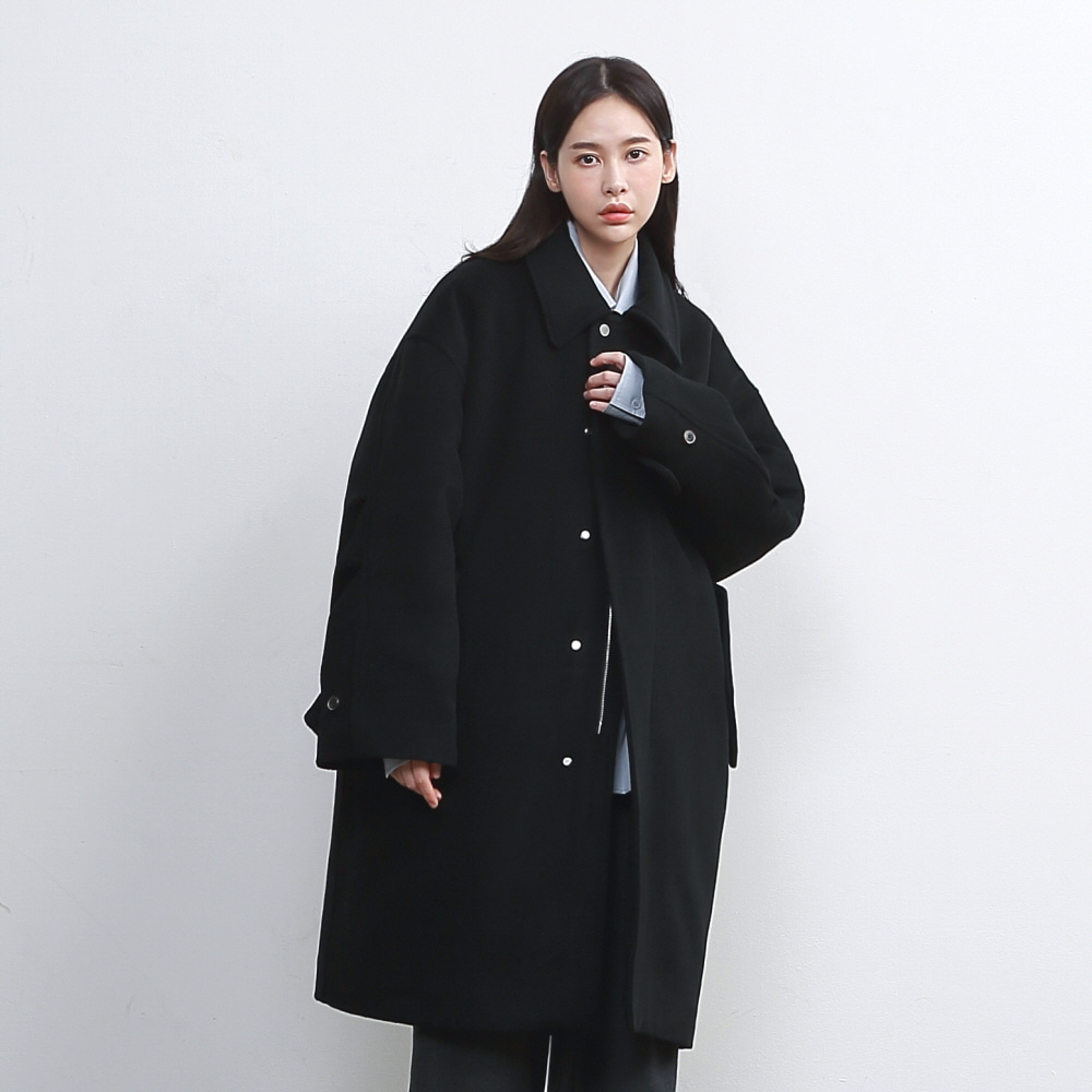 [WOMAN] SECURITY M-51 WOOL PADDING OVERSIZED COAT (3M THINSULATE) BLACK