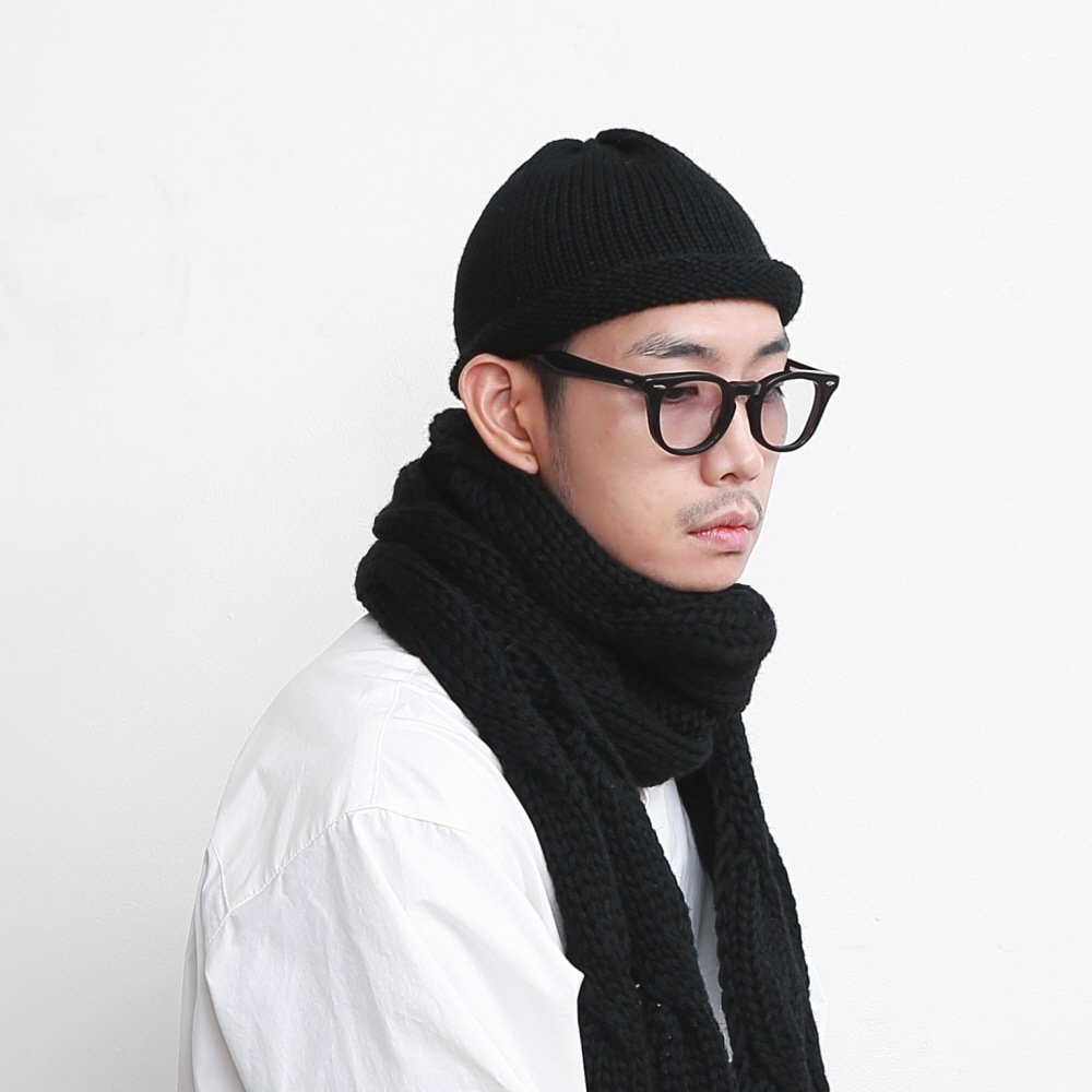 DAILY INN X HIGHLAND 2000 ROLL-UP BEANIE (BLACK)