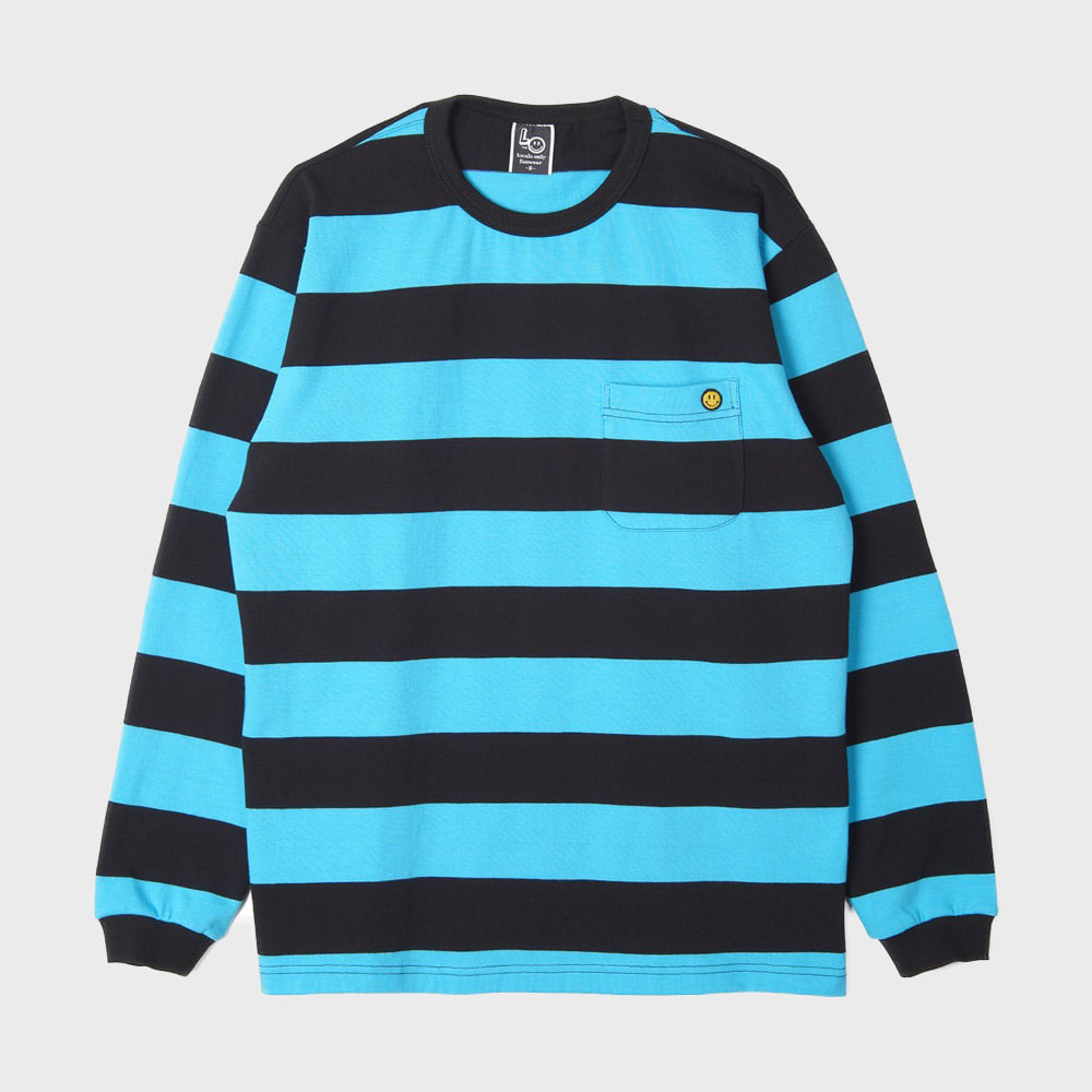 LOCALS ONLY Big Border Stripe Pocket L/S (Emerald / Black)