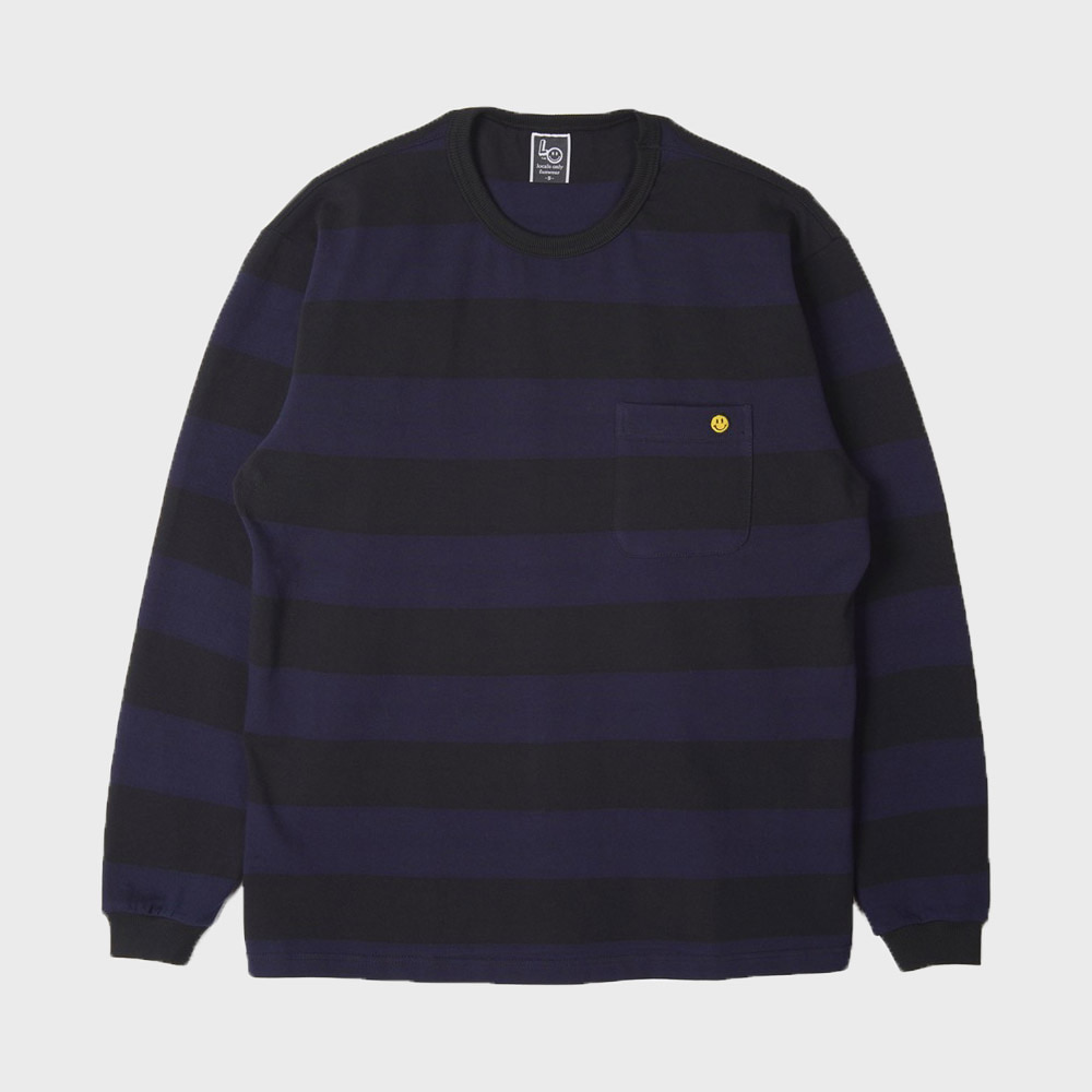LOCALS ONLY Big Border Stripe Pocket L/S (Navy / Black)