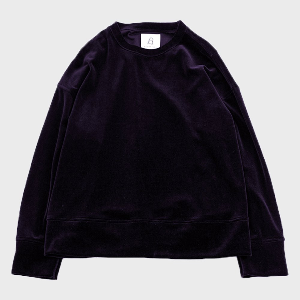 Wide Velour Pullover (Purple)