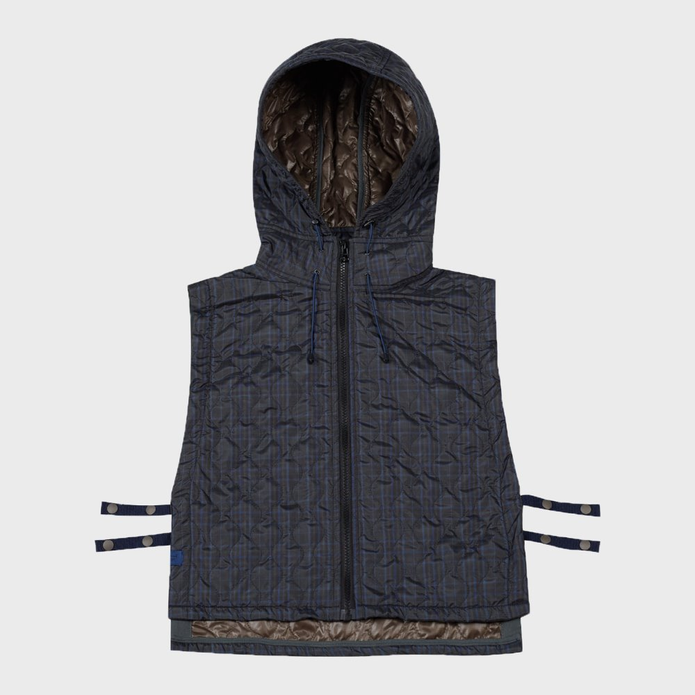 Quilted Hoodie Vest (Check)