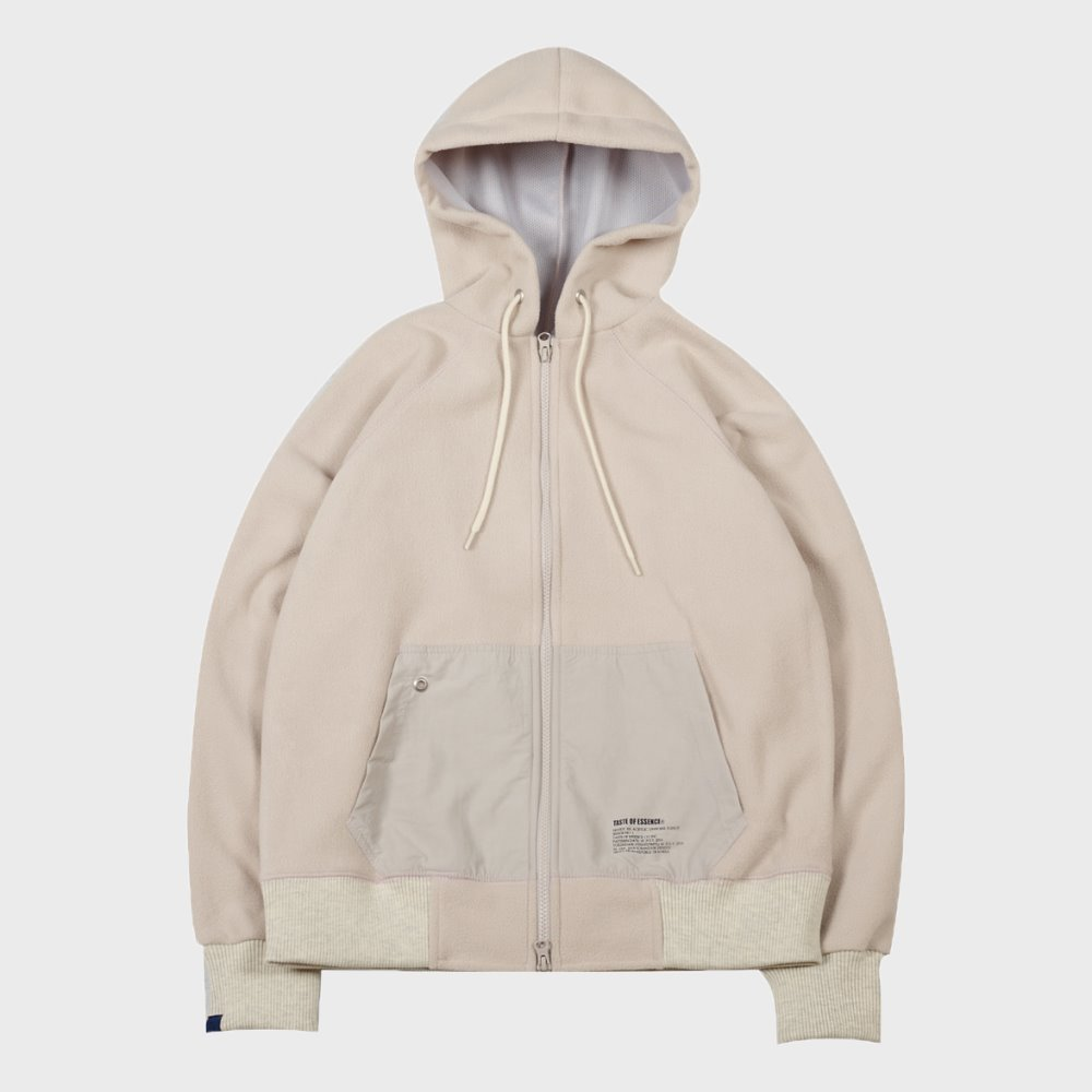 Fleece Hood Zip Up (IVORY)