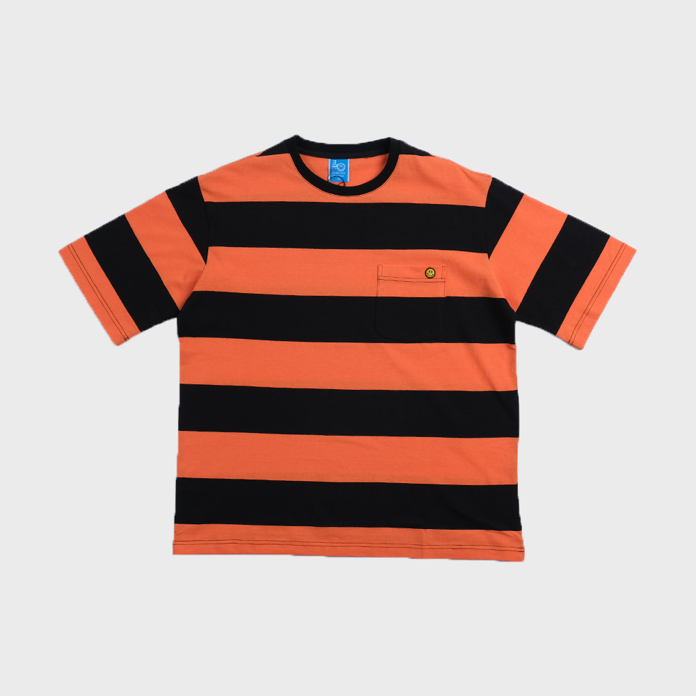 Bigborder Stripe Pocket  T-shirts Crazy 2 (Orange/Black)