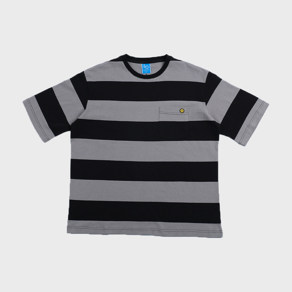 Bigborder Stripe Pocket  T-shirts Crazy 2 (Gray/Black)