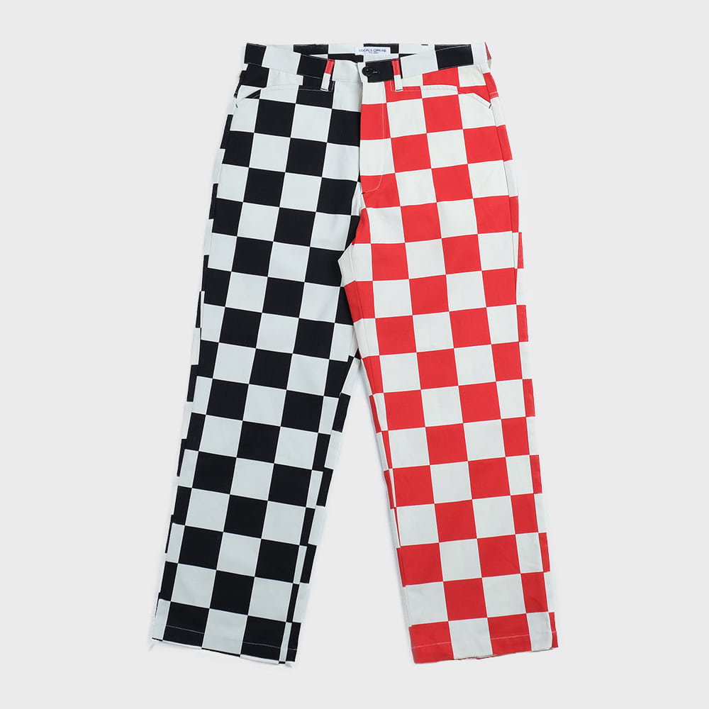 Checkerboard Skater Pants (White & Black & Red)