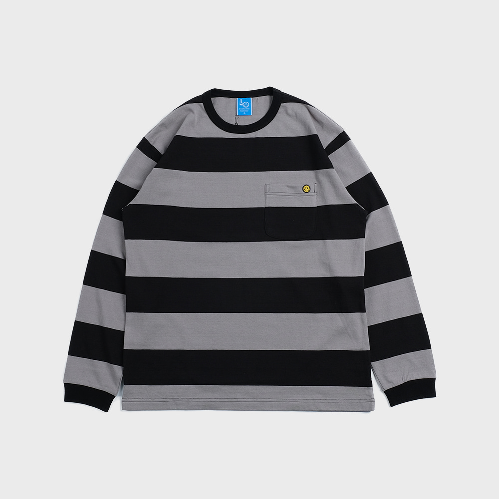 Bigborder Stripe Pocket L/S (Black / Grey)