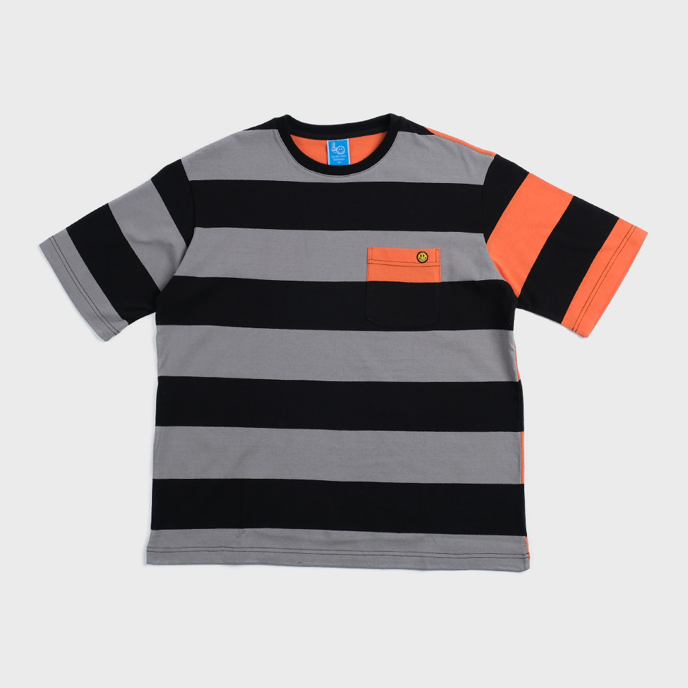 Bigborder Stripe Pocket  T-shirts Crazy 2 (Front-Grey/Black)