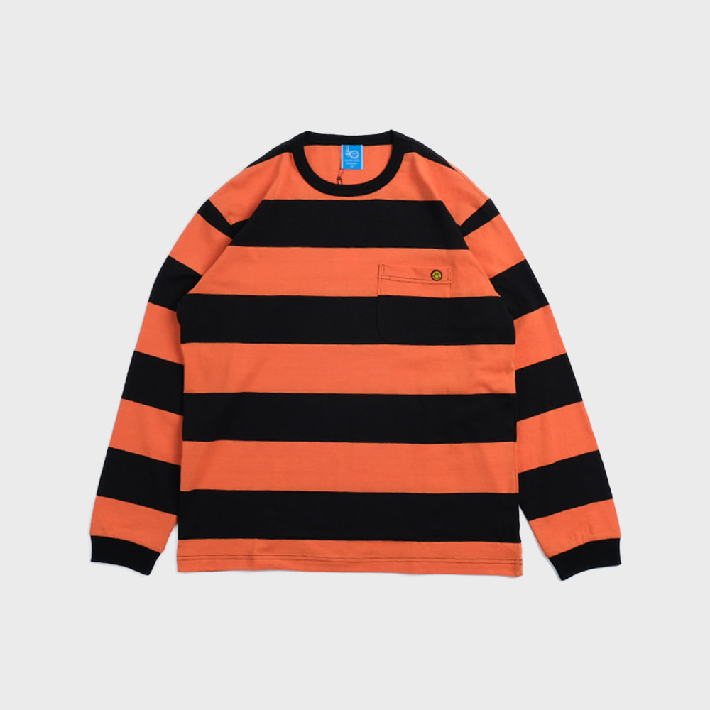 Bigborder Stripe Pocket L/S (Orange / Black)