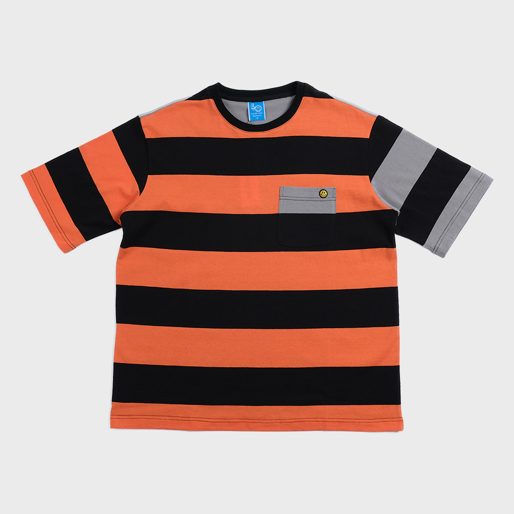 Bigborder Stripe Pocket  T-shirts Crazy 2 (Front-Orange/Black)