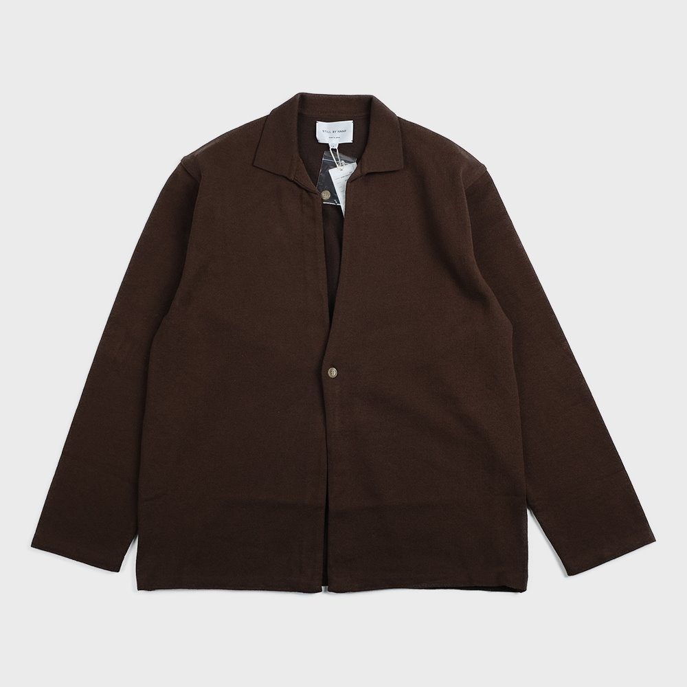 Cotton blend Knit Jacket (Brown) - KN01201OS
