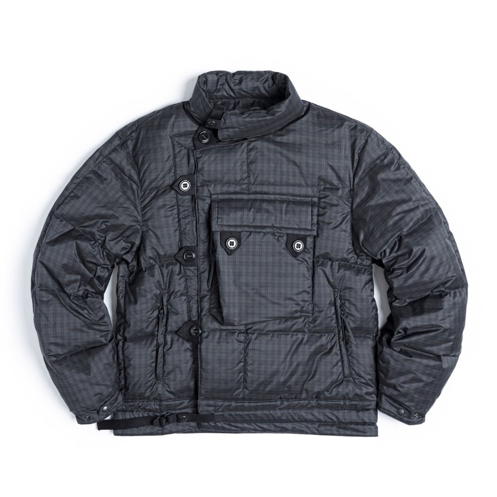 Motorcycle Down Jumper (Black / Grren Check)